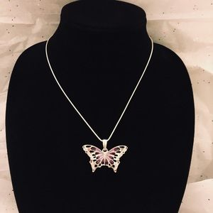 Jewelry - .999 Silver Purple Butterfly Necklace Charm 18""